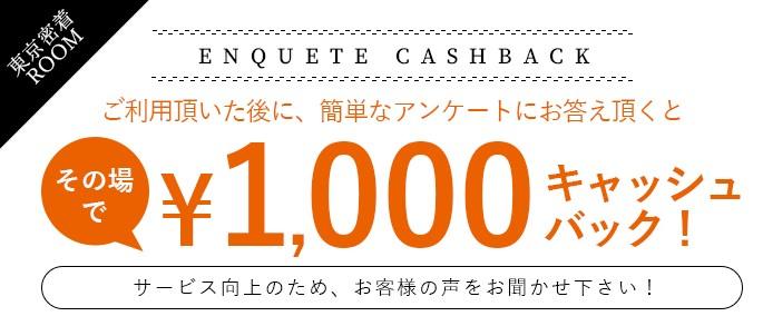 アンケート記入で1000円バック。